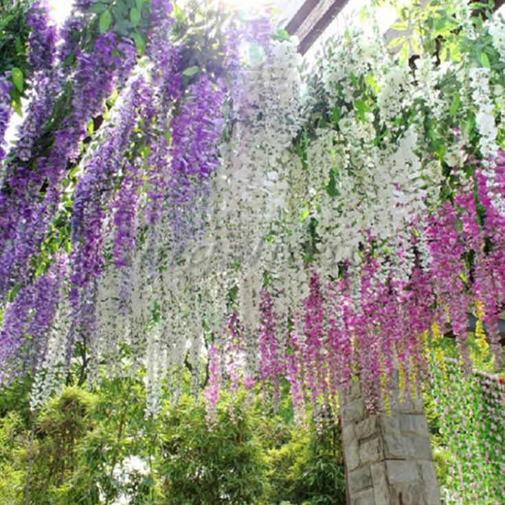 2018 Newly Arrival Artificial Flower Wisteria Home Garden Hanging Flowers Vine Wedding Plant Decor Drop shipping