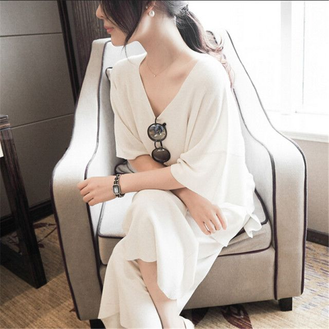 Sweater Women Summer dress Knitting Loose Two-piece Sweater + Wide-legged pants High quality Ice silk Women's clothes BN1421