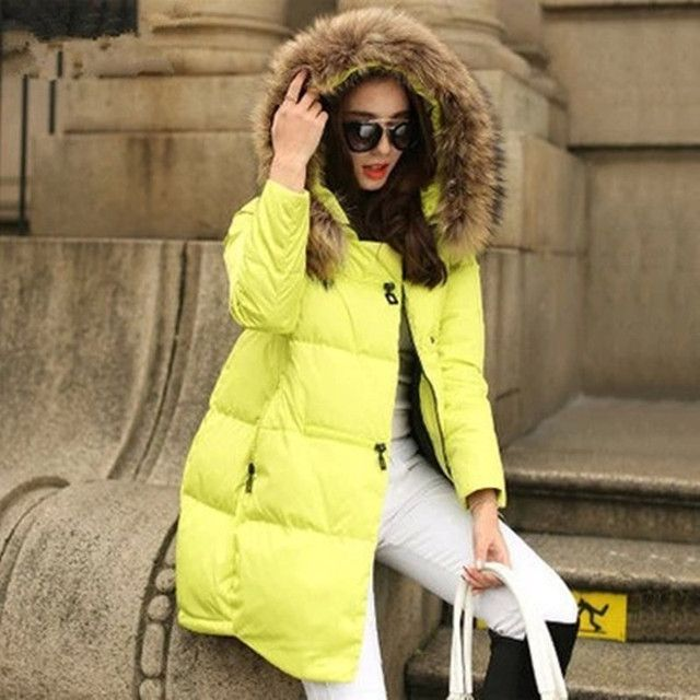 New Coats & Jackets 2016 Parka Hooded Winter Jacket Women Fur Collar Winter Coat Women Zipper Women's Jacket H51604