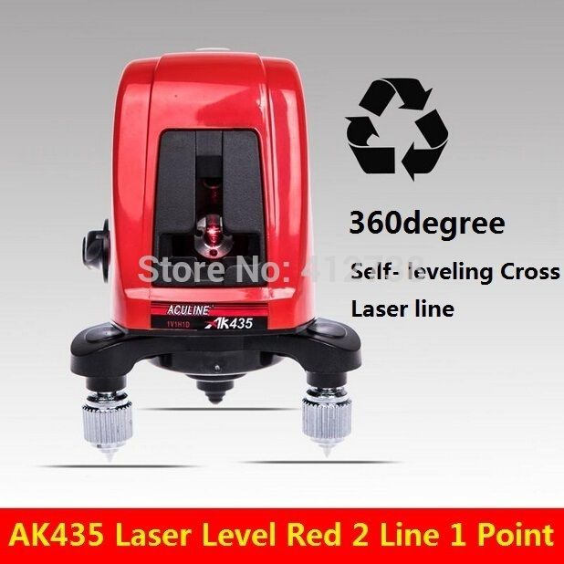 Fast delivery all over the world !!! AK435 360degree Self- leveling Cross Laser Level Red 2 Line 1 Point