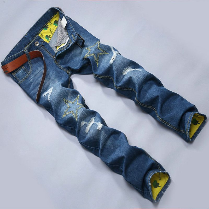Hot sale! Men's Jeans Fashion Ripped Holes Design with Star Patterns on the Leg  #E01