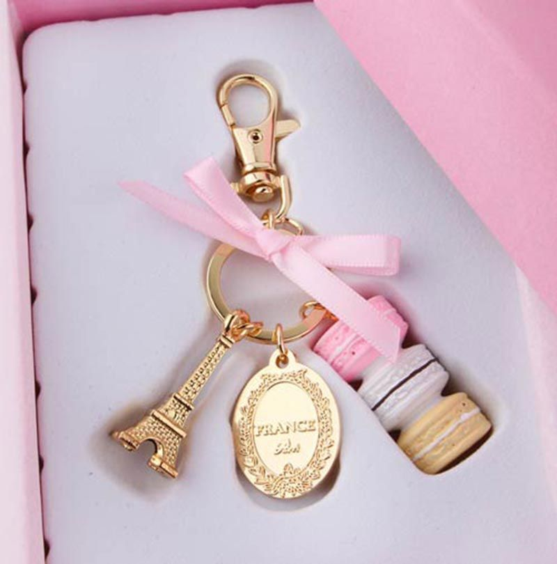 Girls Macaron Eiffel Tower Pendant Key Chains Alloy Bag Charm Women Bag Pendant Car Keychain Key Ring with Gift Box # 1518740