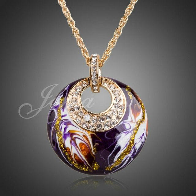 Jenia Elegant Purple Painting Necklace Pendant Gold Color Rhinestone Necklace For Charm Women XN020