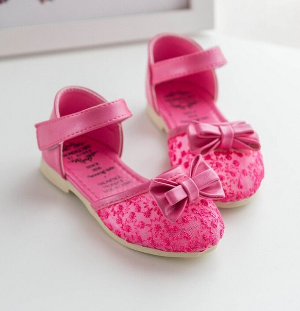 2016 Spring Autumn Children's Lace Bow Hollow Out Princess Single Shoes Girls Flats sapato infantil