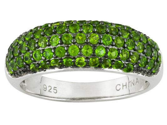 1.07ctw Round Chrome Diopside Sterling Silver Dome Ring