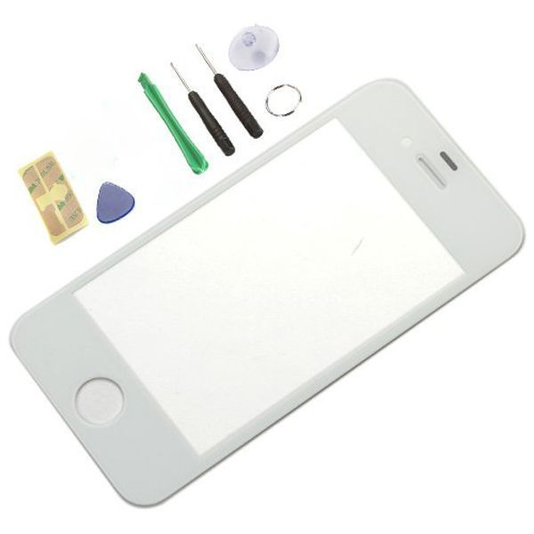 White Lcd Front Screen Digitizer Glass Lens Repair & Tools & Adhesive Replacement for Apple iPhone 4 4G 4S BA1C001