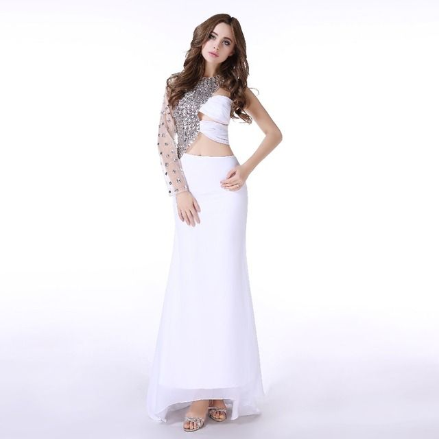 Sexy Mermaid Evening Dress O-Neck One Long Sleeve Tesettur Elbise Formal White Party Dresses Pregnant Women 2019 Robe De Soiree
