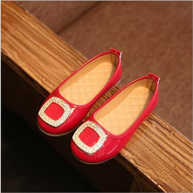 black red color children shoes girls princess shoes 2016 new summer diamond fashion girls single shoes kids dance shoes for girl