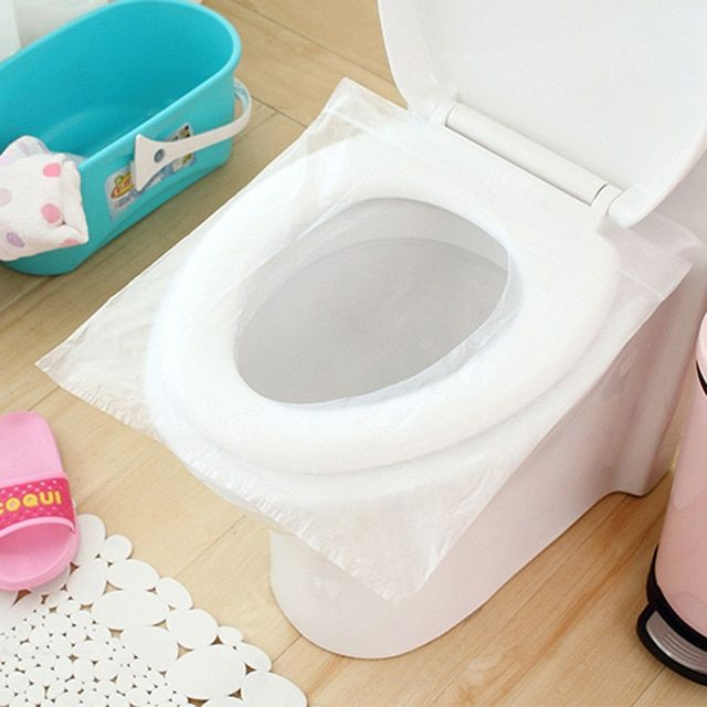 Meltset 50Pcs/100Pcs Travel Safety Plastic Disposable Toilet Seat Cover Waterproof 40*48cm