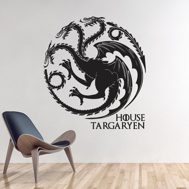 Game of Thrones House Targaryen Wall Sticker home decor DIY Wall Decals Animal Dragons Pattern Free Shipping