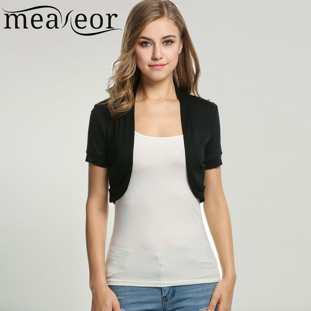 Meaneor Women's Knit Bolero Casual T-Shirts  Style Short sleeve Solid Tops short Cardigan Crop Shrug outwear plus size XS-XXXL