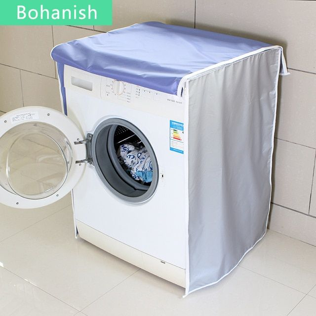 Silver Sunscreen Protective Washing Machine Cover For Home With Polyester Silver Coating Dustproof And Waterproof