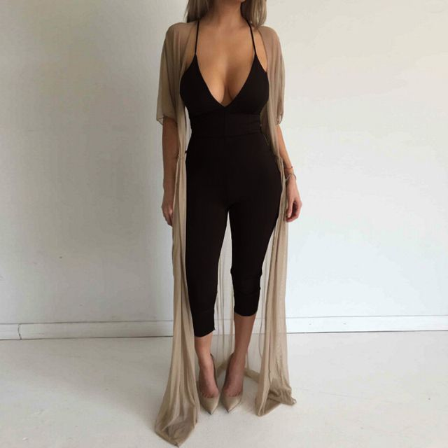 New fashion women bodycon jumpsuit sexy strap v neck  backless slim 2016 rompers womens drop shipping