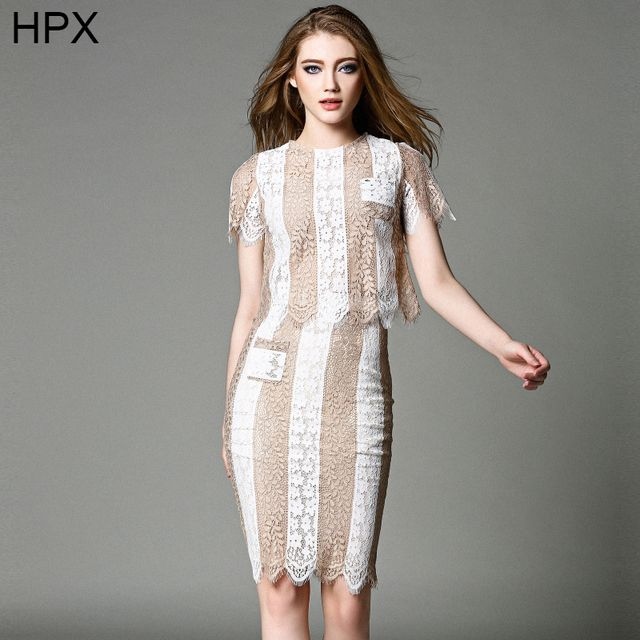 Women Lace Top and Pencil Hip Bodycon Knee Length Striped Skirt two pieces Clothing Sets 2016 New Ladies Elegant 2 PCS Suit