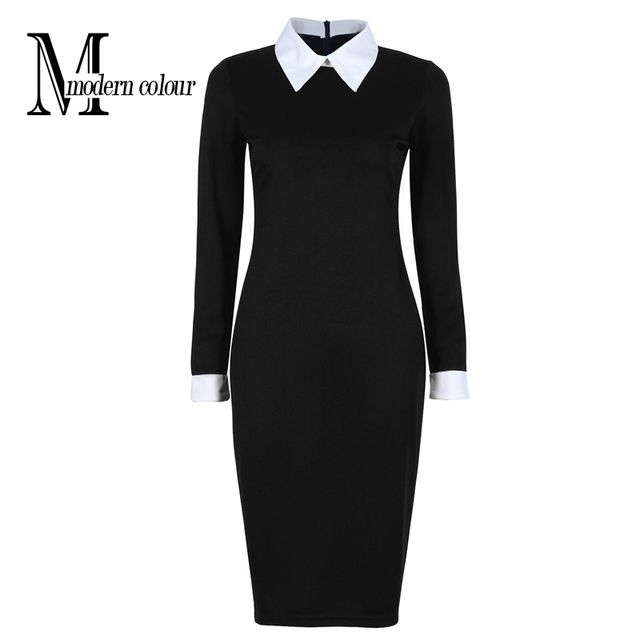 Black Office Dresses Women 2018 Spring New Arrivals Fashion Long Sleeve Pencil Dress Ladies Casual Work Dress With White Collar