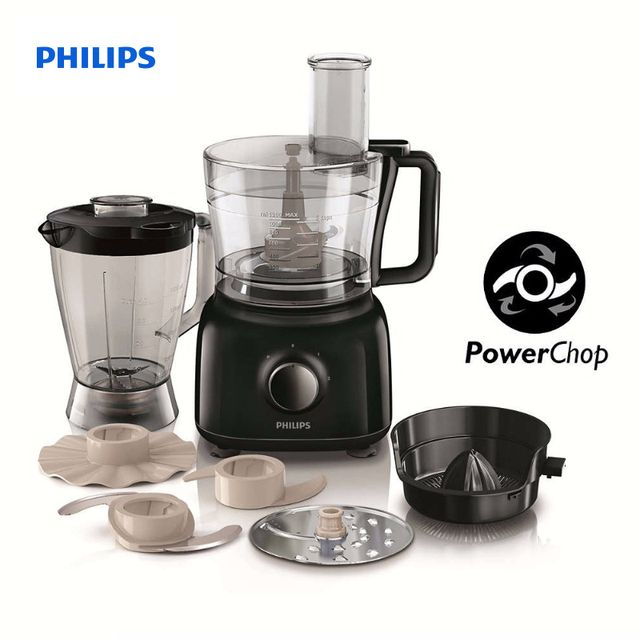 Philips Daily Collection Food processor 650 W Compact 3 in 1 setup 2 L bowl Accessories for + 26 functions HR7629/90
