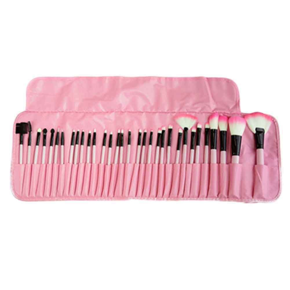 Free Shipping Stock Clearance  32Pcs Print Logo Makeup Brushes Professional Cosmetic Make Up Brush Set The Best Quality!