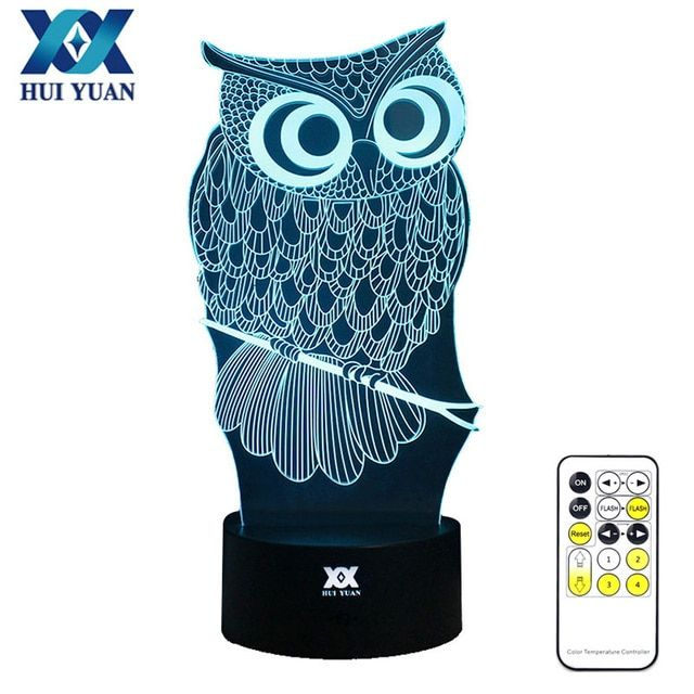 HUI YUAN OWL 3D Night Light RGB Changeable Mood Lamp LED Light DC 5V USB Decorative Table Lamp Get a free remote control