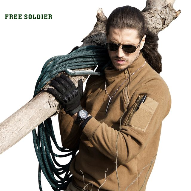 FREE SOLDIER Outdoor Tactical Men's Coat For Camping Hiking Winter Clothing With Fleece Fabric