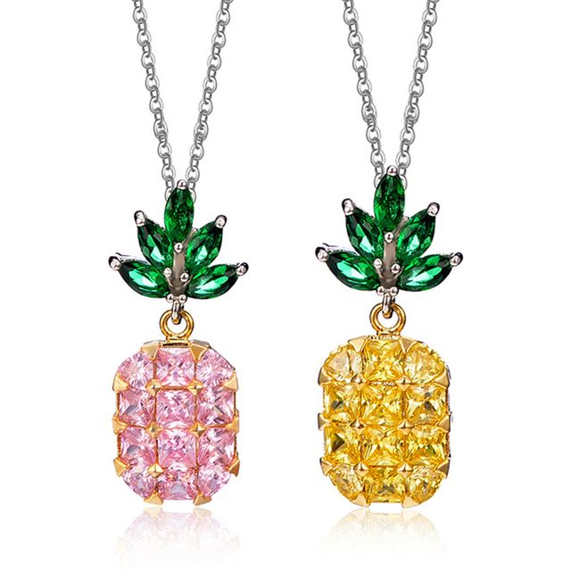 Fashion Women Zircon Pineapple Pendant All-match Short Chain Necklace Jewelry