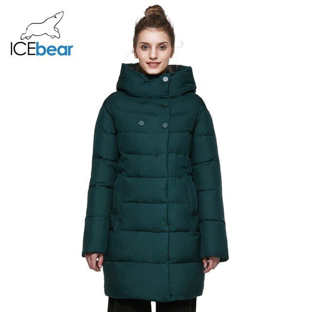 ICEbear 2017 Winter Coat Women Mid-Long Two-Way Placket Zipper Fashion Clothing Coats Simple Handsome  Women Jacket 16G6128D