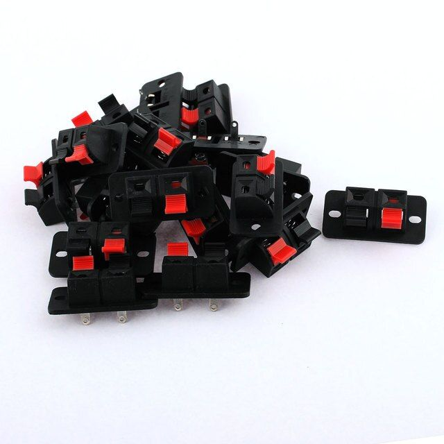 UXCELL 18 Pcs 2-Position Speaker Wire Terminal Board 38 X 20 X 20Mm Black And Red