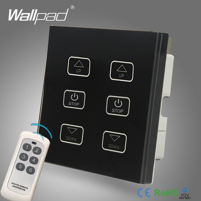 Smart Home Double Fan Remote and Touch Switch Wallpad Black Glass 6 Gangs Control 2 Fan Speed Dimmer Wireless Remote Switch