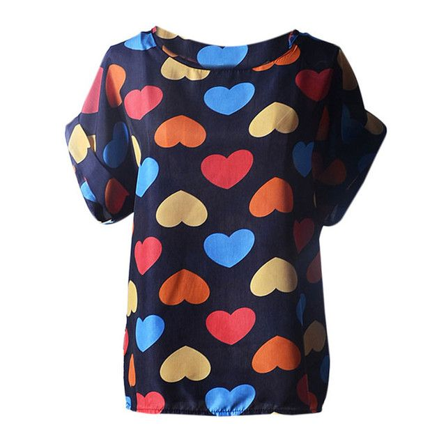 2017 New Fashion Casual Summer Women T Shirts Short Sleeve Tops Shirt Heart Print Chiffon T-Shirt Female Blusas