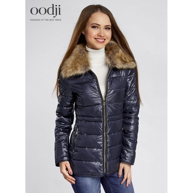 oodji 2017 with a detachable Quilted Jacket faux fur on the collar free shipping on Russia3 2020404124176 170 cm oodji 2017