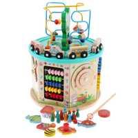 Cube d'activité en bois-labyrinthe de perles, jeu d'engrenages, trieur de formes, centre d'activités de jouets boulier pour enfants de 1 an + développement précoce