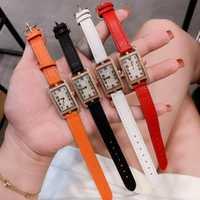 Calidad francesa, correa de cuero de marca, reloj rectangular de 20*27mm Reloj clásico de lujo, reloj de cuarzo para mujer