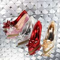 Cendrillon verre pointu talons hauts cristal argent bas femmes pompes strass fleurs chaussures de mariage femme dames chaussure de mariée