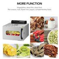 KWASYO 6 bandejas para alimentos deshidratador secadora de frutas para verduras fruta seca máquina de secado de carne acero inoxidable