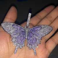 Hip Hop cadena Micro Pave Bling Ice Out Animal mariposa colgantes collares para hombres rapero joyería oro plata negro circón cadena