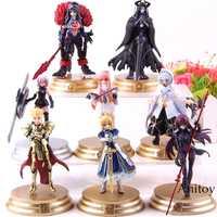 8 unids/set figura de acción Fate Grand orden Duel FGO colección scatach Mash gilgamash Merlin Medb modelo Saber figura Juguetes
