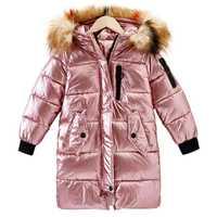 2019 nouvelles filles mode doré coton manteau enfants imperméable chaud long manteau filles neige costume hiver vêtements Parker manteau à capuche