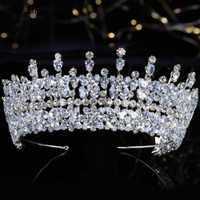 Lujo lleno de circonias coronas Tiaras zirconio mujeres dulces 16 chicas boda fiesta Western diademas para el cabello de joyería accesorios nupciales