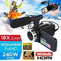 Profesional 4K HD videocámara cámara de vídeo visión nocturna 3,0 pulgadas LCD cámara de pantalla táctil 18X cámara de zoom digital con mic