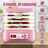Deshidratador de alimentos máquina de 220V fruta vegetal hierba máquina de secado de carne refrigerios para mascotas secador de alimentos con 5 bandejas para cocina electrodomésticos