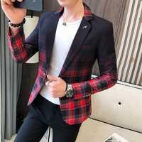 Mariage affaires vêtements homme Blazer Masculino 2020 printemps britannique Style Plaid Blazer pour hommes costume veste tenue décontractée manteau