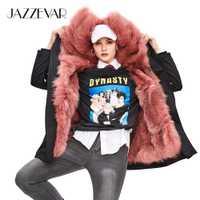 JAZZEVAR 2019 nouveau hiver haute couture rue femmes luxueux fourrure de renard Parka amovible doublure de fourrure dames manteau à capuche