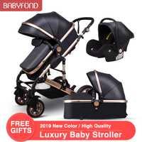 3 en 1 bébé poussettes et panier de couchage nouveau-né 2 en 1 bébé poussette Europe bébé landau un colis avec siège auto