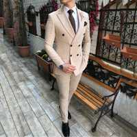 2020 nouveau Beige hommes costume 2 pièces Double boutonnage revers cranté plat mince coupe décontracté smokings pour mariage (Blazer + pantalon)