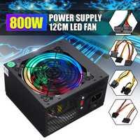 Max 800W fuente de alimentación de conmutación PFC 110V enchufe de 12cm Multicolor LED ventilador 24 Pin SATA PCI 12V ATX fuente de alimentación de la PC