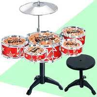 Juego de batería para niños, instrumento Musical, juguetes educativos, 5 tambores con palillos de tambor de Taburete pequeño, juguete para niños y niñas, regalo de Navidad