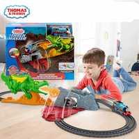 Original thomas y amigos locomotora eléctrica maestro de las vías serie escape fire breathing dragón adventure juguete para niños regalo