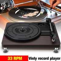 Bois Couleur Record Rétro Lecteur 33 TOURS Audio Portable Gramophone Platine Disque Vinyle Audio RCA R/L 3.5mm Sortie USB DC 5V