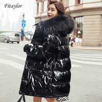 Fitaylor réel naturel fourrure en cuir verni veste d'hiver femmes épaissir longue vers le bas Parka à capuche femme canard vers le bas imperméable manteau