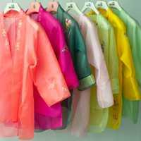 Ropa personalizada china tradicional Hanfu chaqueta y abrigo transparente bordado coreano seda Organza tela hecha a mano