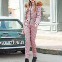 Hiver épais longue combinaison femmes salopette surdimensionné rembourré vêtements mode Pure rose Parka noir Streetwear survêtements décontractés 2019
